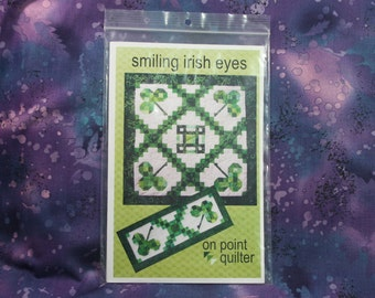 Smiling Irish Eyes Quilt Pattern, St. Patrick's Day Decor, Two Projects, Table Topper and Small Runner or Wall Hanging, Modern Shamrocks