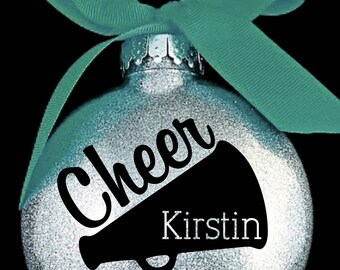 Cheerleader Megaphone Christmas Ornament with Name and Year
