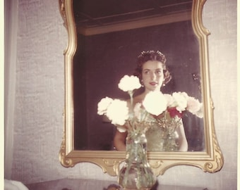 """Vintage Snapshot """"Mirror, Mirror On The Wall"""" Color Photo - Woman Looks At Her Reflection in Wall Mirror - Found Vernacular Photograph"""