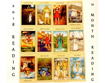 12 Month Planner Tarot Card Reading Yearly Planner Tarot Reading 2018 Planner Same Day Reading Year at a Glance Psychic ReadingTarot Cards,