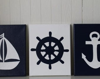 Nautical Nursery Decor Painting Sailboat Nursery Ship's Wheel Anchor Navy White Nautical Wall Art Nautical Painting Bathroom Decor