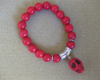 Red Scull Howlite Beaded Charm Stackable Stretch Bracelet Friendship Bridesmaids Jeweller Gift For Her MillineryJewellery