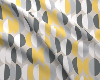 Gray and Yellow Modern Ecor Fabric - Broken Eggs Banana By Stitch+Press - Midcentury Modern Decor Cotton Fabric By The Yard With Spoonflower