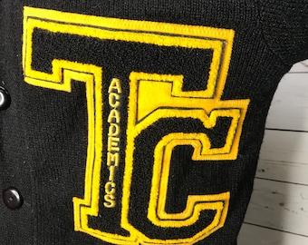 Vintage 1980's Varsity Academics Black  Sweater