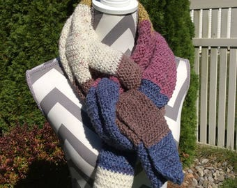 Extra Large Crocheted Scarf, Multi Way, Multi Color blue/purple/gold/white Cozy Super Scarf.