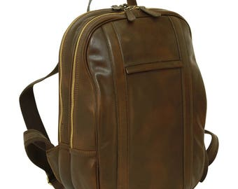 Leder Rucksack Dunkelbraun für 13 Zoll Laptop aus Italienischem Leder - Laptoptasche - Schulrucksack - Schulranzen - Leder Laptop Tasche