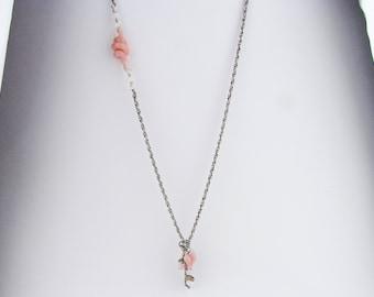 Pink Glass Statement Necklace, Handmade Bohemian Jewelry, Lampwork, Boho jewelry, Boro Glass Necklace, Borosilicate Fidget Charm Necklace