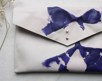 Tie Dye purple leather clutch bag, leather bag, tie dye ipad case, tablet holder.  Colour variations available.  Made in UK