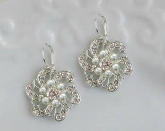 Bridal earrings, Bridesmaids Jewelry, Set of 6, set of 7, Set of 8, wedding earrings, Silver dangle, Crystal Pearl, earrings,Silver Jewelry