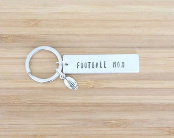 hand stamped keychain   football mom