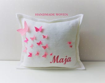 monogram pillow, decorative pillows, cable knit pillow, cushion all sizes, soft pink nursery, best pillow covers, baby butterfly pillow