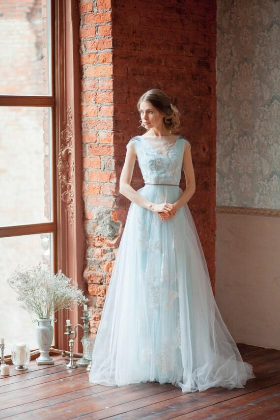 Tiffany Blue Wedding Dress GLENNY Light Wedding - Light Wedding Dress