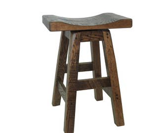 Swivel Barnwood Bar Stools - Saddle Seat 24""