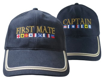 Nautical Signal Flags Captain and First Mate Duo Embroidery Adjustable Navy Blue Structured Fashion Baseball Caps + Options to Personalize