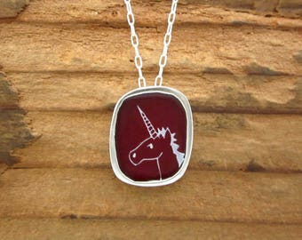 Unicorn Necklace - Sterling Silver and Vitreous Enamel Unicorn Pendant