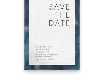 Watercolor Wedding Save the Date/Wedding STD/Wedding Save The Dates/Save-The-Date/Venn/Modern/Watercolor/Bold/Monogram/Blue/Navy