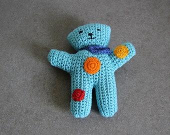 hand crocheted light blue bear