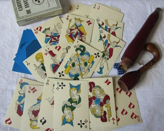 Poker game vintage playing cards antique playing  cards XVI revival cards Viollet le Duc
