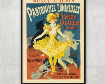 Vintage style theatre ad Pantomimes of Light poster art