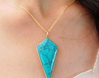 Turquoise  Women Necklace, Turquoise Geometric shape Necklace, Mother's day Gift Jewelry,Solid sterling silver Necklace,