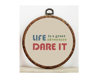 Life is a great adventure-Cross Stitch Pattern-Modern Sampler-Pdf-Instant Download