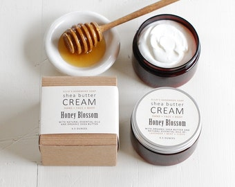 HONEY BLOSSOM Shea Butter Cream - with pure essential oils + organic shea butter - paraben free - 4.5 ounces