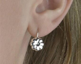 Sterling Silver Everyday Flower Drop Earrings