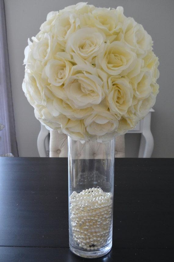 Ivory cream elegant wedding silk flower ball