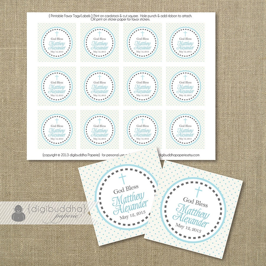 Baptism favor tags baby boy blue dots gray cross christening zoom negle Choice Image