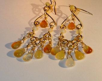 Carnelian Chandelier Earrings, Carnelian and Gold Earrings