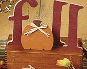 "6"" Fall letters with Pumpkin"