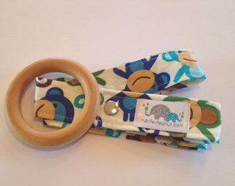 Toy Strap, Sophie Strap, Toy Tether, Sippy Cup Strap, Toy Leash, Teething Toy Strap, Maple Teether and Toy Strap COMBO: Monkey Royal