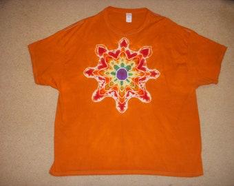 3X tie dye tshirt mandala on orange, XXXL