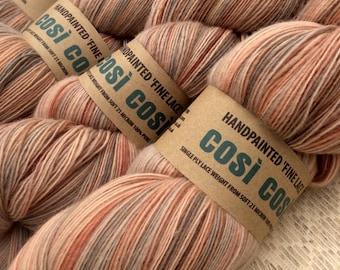 Hand Painted Lace Weight Pure Wool Singles Yarn / Single Ply /  'Salmon Sky' Knitting Yarn Shawl Yarn
