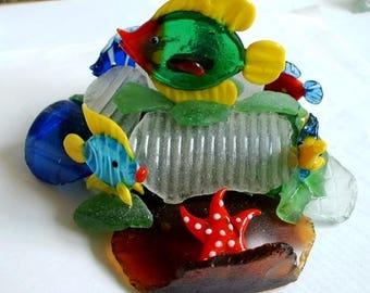 "BEACH GLASS ""Fish Garden"" Sculpture-Sea Glass-Special-Free Shipping"