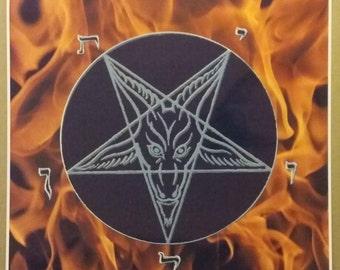 """Pentagram Fire Poster Size 24"""" x 24"""" Evil Art Devil Fire Pentagram Fantasy"""