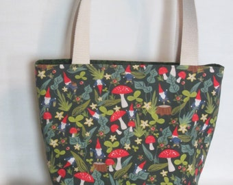 Large Knitting or Crochet Project Bag. Gnomes Canvas Tote Bag with Pockets.