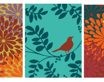 Bird on a branch with flower pattern- wall art -home decor - :) set of 3