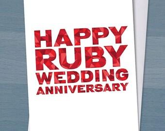 Happy Ruby Wedding Anniversary / 40 years married / 40th wedding anniversary / Typography / Typographical
