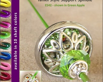 Support Spindle (Tahkli Style) - No. 542 - Chrome and Green Crystals 1.2 in. Whorl- FREE SHIPPING