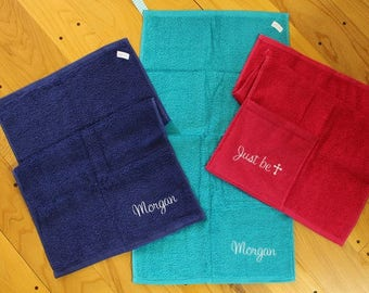 Personalized (on both sides) Pocket Workout Sweat Towel - Gym Towel - Sports Towel - Yoga Towel - Workout Towel - Class Workout Towel