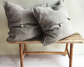 Rustic Throw Pillow Covers, Throw Pillow Covers 18 x 18 Rustic linen shams Natural Raw linen sham covers Linen decorative Pillowcases Burlap
