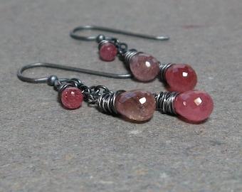 Pink Sapphire Earrings Long Chain September Birthstone Oxidized Sterling Silver Earrings Gift for Her