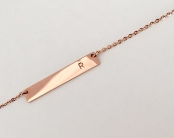 Bridesmaids Initial Bar Necklace, Bridesmaid Gift, Anniversary Gift, Gold Initial Necklace, Handmade Jewelry, Bar necklace, Gift idea