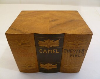 Vintage wooden cigarette box with Lucky Strike, Camel and Chesterfield brand