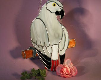 Stained Glass Suncatcher African Grey Parrot  (844)