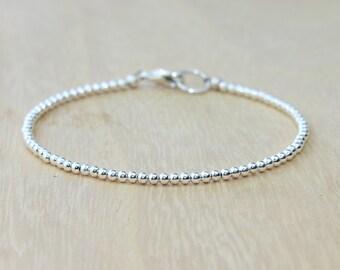 Silver Beaded Bracelet   Minimalist Bracelet   Silver Stacking Bracelet
