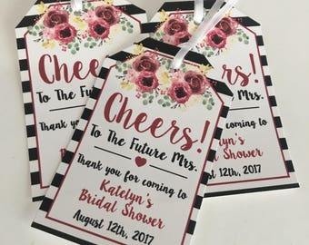 Favor Tags, BacheloretteParty Favor Tags for Mini Wine Bottles - Wine Bottle Tags - Wine Bottle Favors - Bridal Shower Wine Tags, burgundy