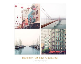 San Francisco Photo Set, Golden Gate Bridge, China Town Picture, SF City Art, Large Wall Art Set, SF Photography 4x4, 5x5, 8x8, 10x10, 12x12