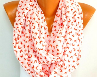 Free Shipping, Scarf, Scarves, infinity, Bird Printed Scarf, Dove Scarf, Women Fashion Accessories, Lightweight Summer Scarf, Spring Scarf